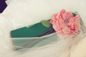 Emerald Green Clutch With Pink Flower