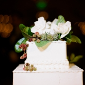 Fall Floral Decor on Wedding Cake