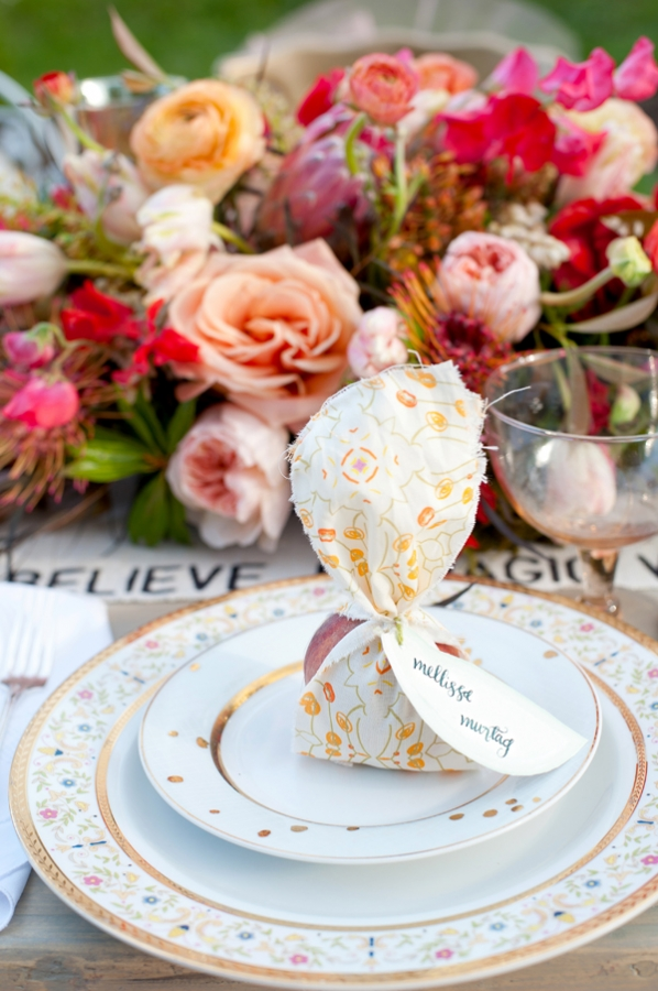 Peach and Yellow Place Setting