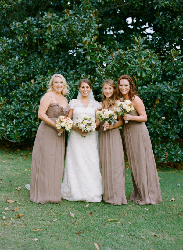 Floor Length Taupe Bridesmaids Dresses