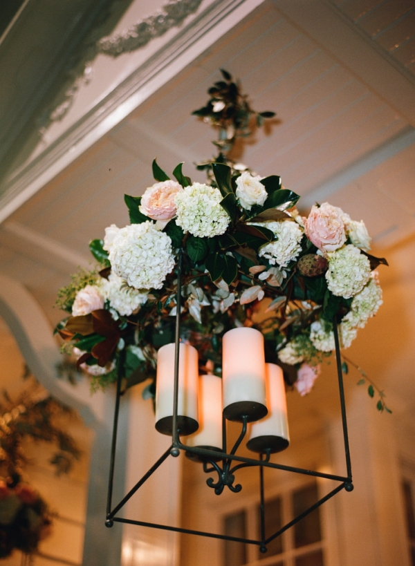 Flower and Candle Chandelier Reception Decor