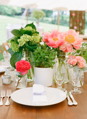 Fresh Pink Green Spring Centerpiece