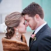 Fur Shrug Over Wedding Gown 1