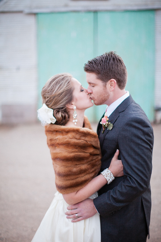 Fur Shrug With Wedding Gown