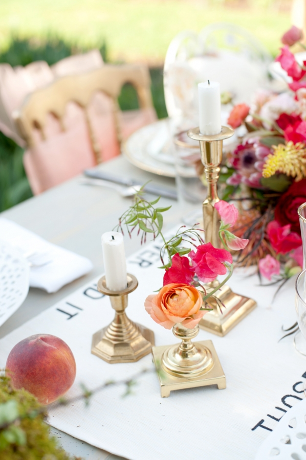 Gold Candle Holders With Pink and Peach Flowers