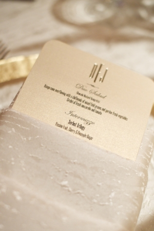 Gold Engraved Reception Menu Card