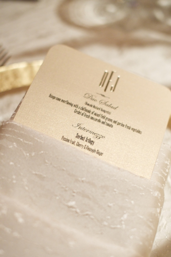 Gold Engraved Reception Menu Card