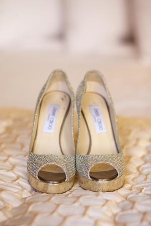 Gold Jimmy Choo Platform Bridal Shoes