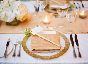 Gold and Champagne Reception Table Setting