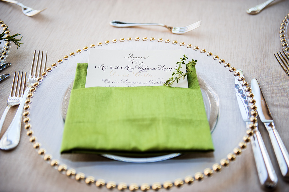 Gold and Green Reception Table Setting - Elizabeth Anne Designs: The ...