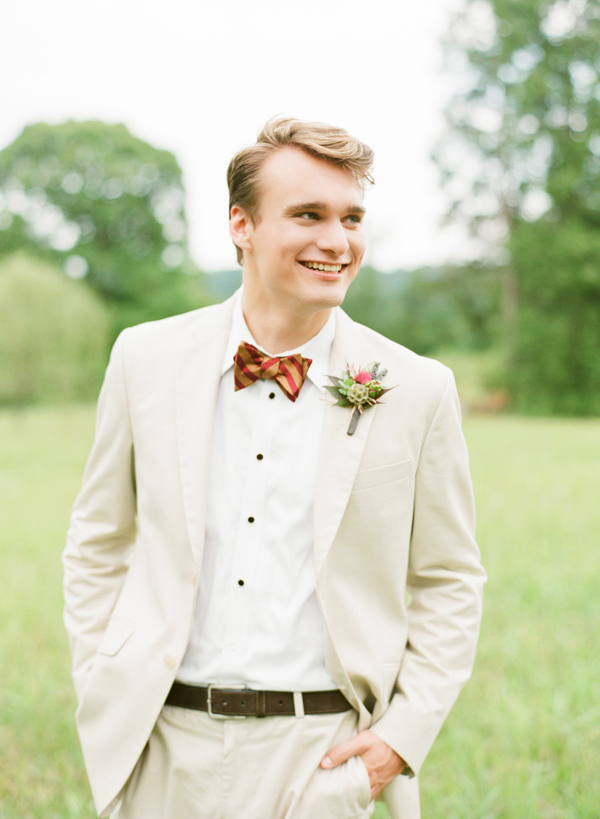 Gold and Pink Striped Bow Tie