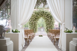 Green and White Floral Arbor Wedding Ideas