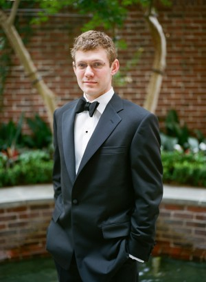 Groom in Classic Black and White Tux