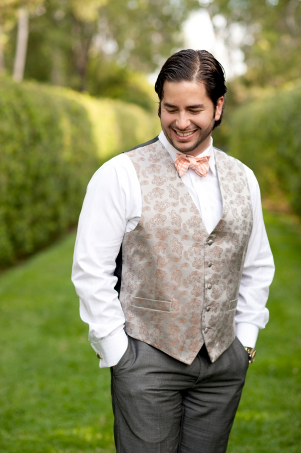 Groom in Paisley Vest and Peach Gingham Bow Tie