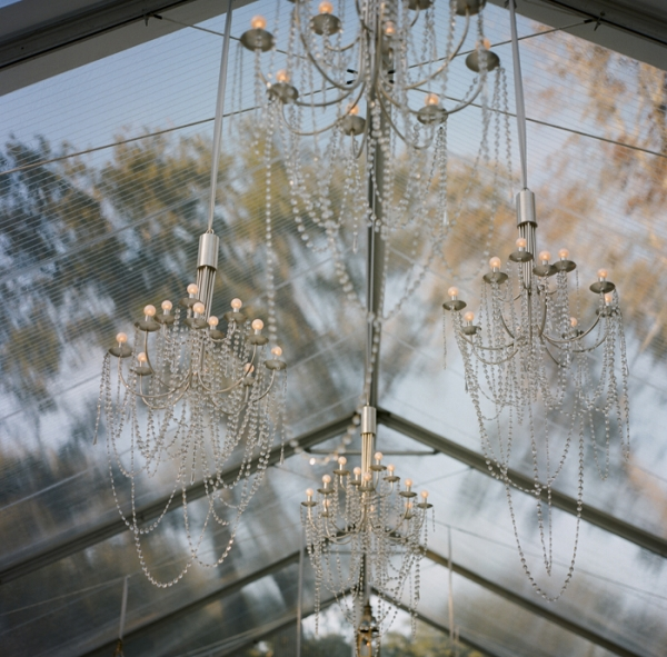 Hanging Beaded Chandeliers in Reception Tent