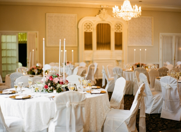 Ivory Pink and Gold Reception Decor