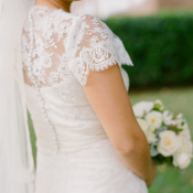 Lace Short Sleeved Wedding Gown