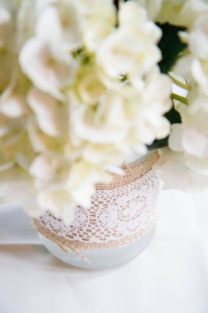 Lace and Burlap Wrapped Vase