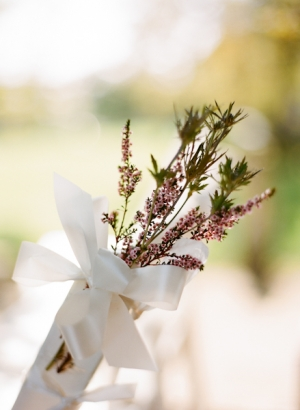 Lavender Bunch With White Ribbon