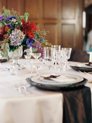 Lavender Red and Blue Reception Table Arrangement