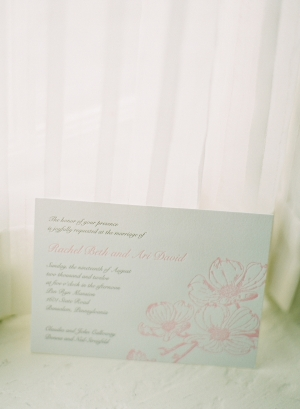 Letterpress Wedding Invitation With Pink Flowers