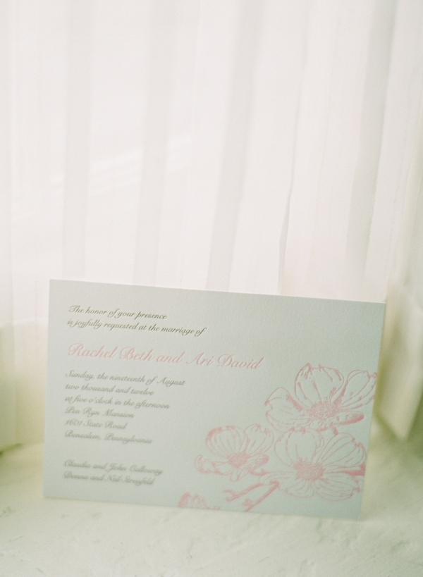 Letterpress Wedding Invitation With Pink Flowers