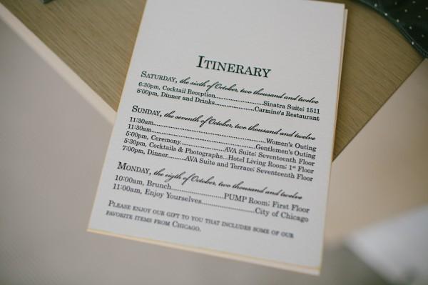 Letterpress Wedding Itinerary Stationery