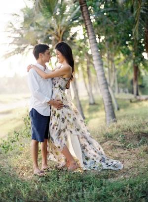 Long Flowing Floral Engagement Dress