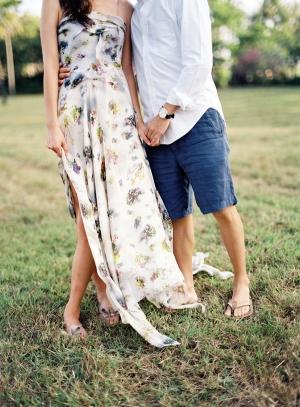 Long Floral Engagement Dress