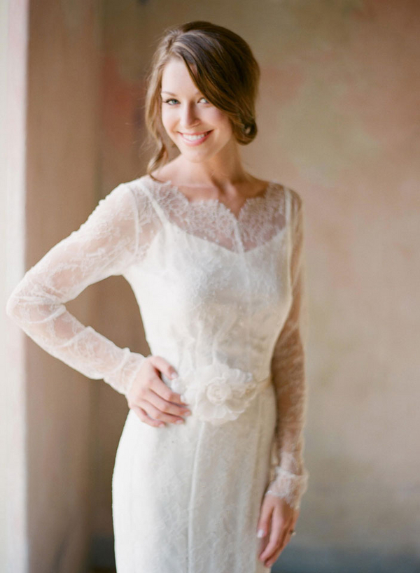 Long Sleeve Sheer Lace Top Over Spaghetti Strap Wedding Gown