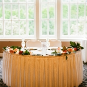 Magnolia Leaf and Rose Garland on Reception Table 1