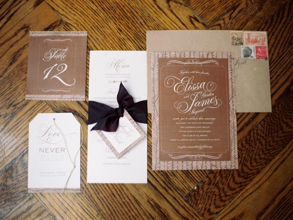 Modern Calligraphed Khaki and Black Wedding Stationery