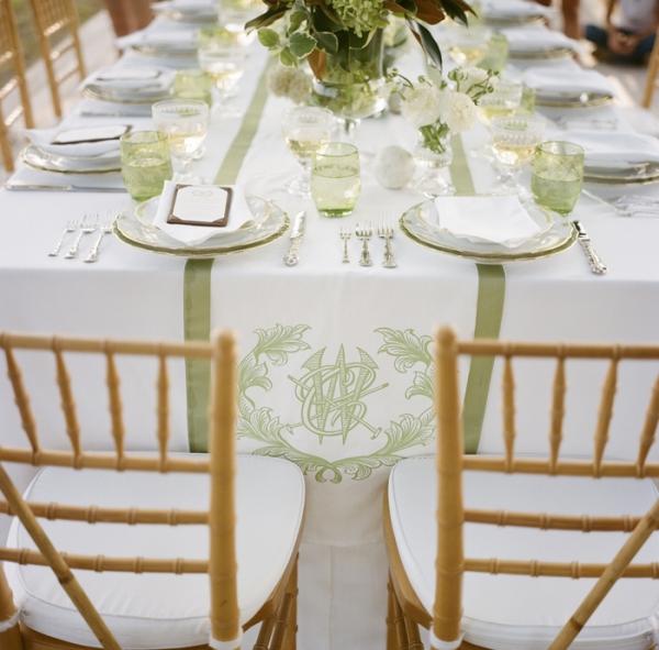 Monogrammed table Linens