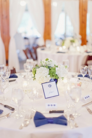 Nautical Blue and White Reception Decor Ideas