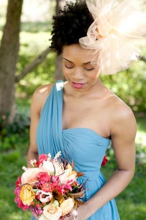 One Shoulder Turquoise Bridesmaid Dress