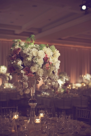 Orchid and Rose Wedding Centerpiece