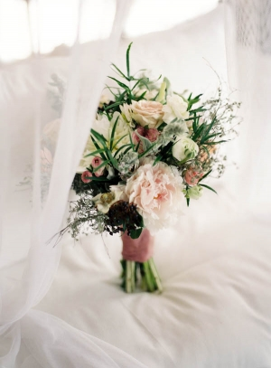 Pale Pink and Dark Purple Tropical Bridal Bouquet
