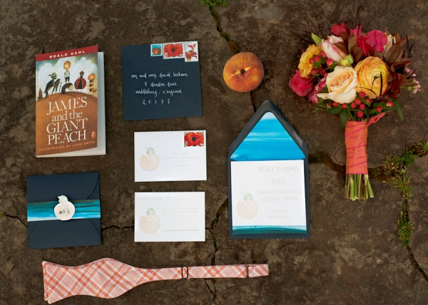 Peach Inspired Wedding Stationery and Bouquet
