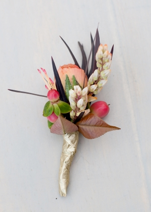 Peach Rose Boutonniere With Berries