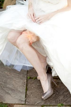 Peach Tulle Bridal Garter