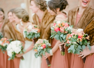 Peach and Green Bouquets