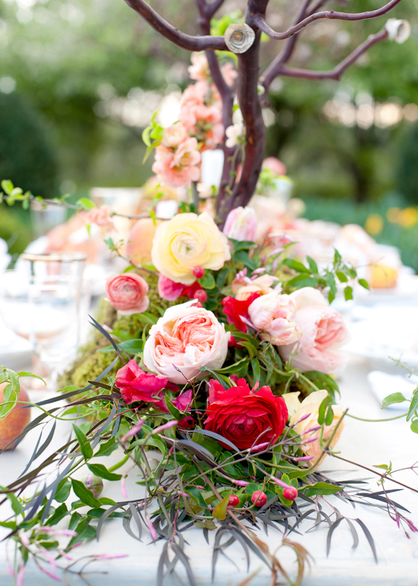 Peach and Red Floral Garland Centerpiece