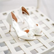 Peep Toe Bridal Heels With Rhinestones