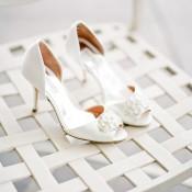 Peep Toe Bridal Heels With Rhinestones