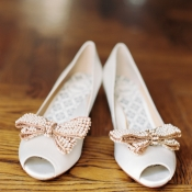 Peep Toe Bridal Shoes With Beaded Bows