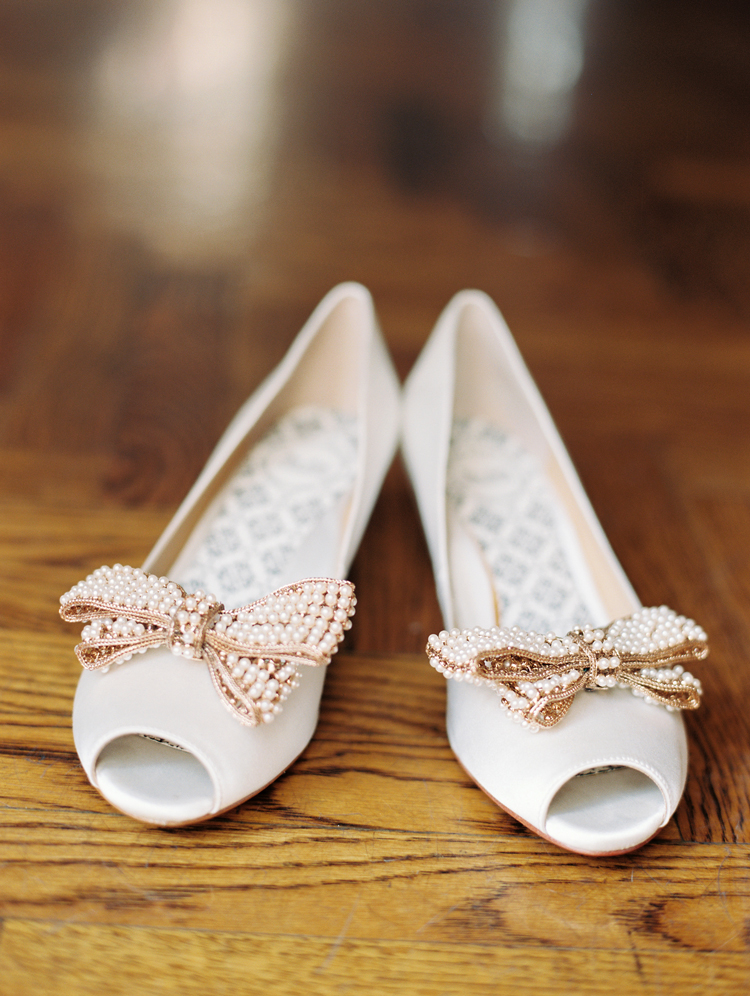 62fb1d5588 Peep Toe Bridal Shoes With Beaded Bows - Elizabeth Anne Designs: The ...