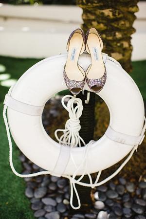 Peep Toe Glitter Bridal Shoes