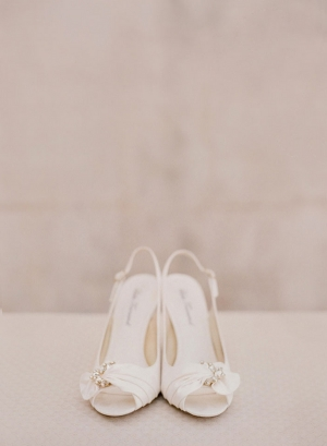 Ivory Peep Toe Bridal Shoes