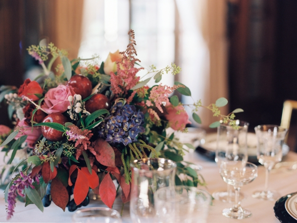 Pink Blue and Red Fall Reception Arrangement With Pomegranates