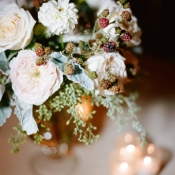 Pink Flower and Dusty Miller Centerpiece